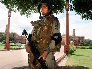 (In pic) Security personnel keep vigil at Rajpath as security is tightened in New Delhi