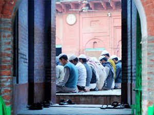 (In pic) Students of Madrasa Darul-ulum offering namaz at the campus.