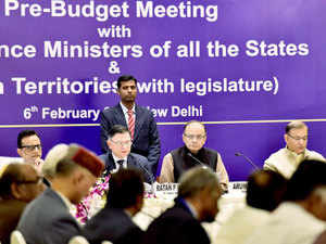 Finance Minister Arun Jaitley (2nd R), Mos, Finance Jayant Sinha (R), Finance Secretary Ratan P Watal (2nd L), and Revenue Secretary Hasmukh Adhia (L) at a meeting of Finance ministers of all the states and Union territories in New Delhi.
