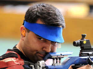 Gagan Narang(seen in the picture) and Chain Singh are participating in all three rifle events and both are expected to win most of the medals up for grabs.