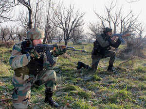 Five militants and two security personnel were today killed in a gunbattle as an operation against ultras continued for the second day in Kupwara district of Kashmir.