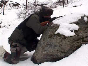In pic:  Army Jawans in action near the encounter site in North Kashmir's Kupwara district
