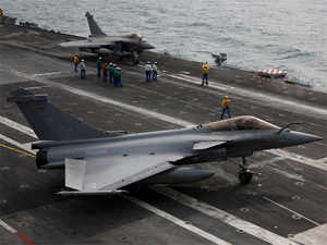 (File photo): Rafale fighter jets queue on the flight deck as they prepare to take off on France's Charles de Gaulle aircraft carrier in the Gulf, January 27, 2016.