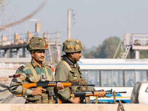 "The lodging of an FIR by Pakistani authorities into the Pathankot terror attack case is seen by India as a ""step forward"" in bringing the perpetrators of the strike to justice.  In pic: Indian army soldiers take positions outside the airbase in Pathankot during attack."