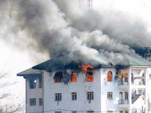 The 48-hour fierce gunbattle on the outskirts of Srinagar ended this evening with the killing of three heavily-armed terrorists holed up in a government building situated along the Srinagar-Jammu National Highway.