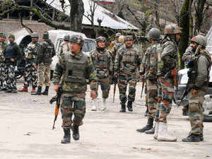 Security forces launched a manhunt in Baramulla district following inputs about entry of a Pakistani militant into the district headquarter town yesterday, a police official said.