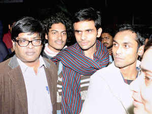 Jawaharlal Nehru University students Umar Khalid (C) and Anirban Bhattacharya (R) who are facing charges of sedition.