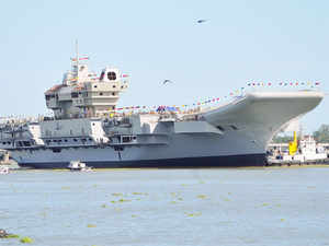 (In pic) India's first indigenous aircraft carrier INS Vikrant after undocking from Cochin Shipyard after completion of structural work in the second phase.