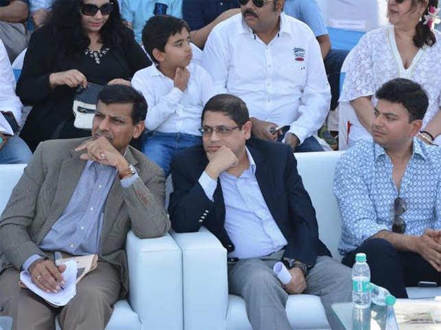 RBI Governor Raghuram Rajan with Pralay Mondal and Raj Shroff at Yes Bank International Polo Cup.