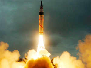 File photo of launch of India's nuclear capable missile Agni 5.