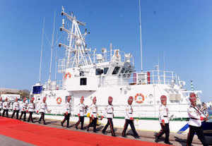 In pic: ICGS Anagh, a 50 meter long, water jet propelled high speed Fast Patrol Vessel (FPV) of Indian Coast Guard