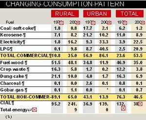 Pattern of domestic fuel consumption