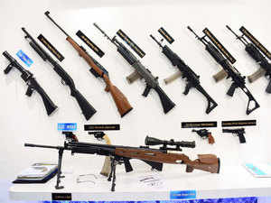 Several companies showcased assault rifles, handguns, sniper rifles and grenade launchers  at the Defence Expo