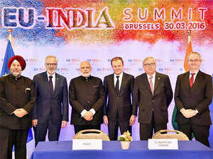 Prime Minister Narendra Modi with EU leaders in Brussels.