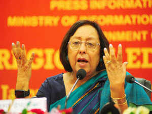 """Najma Heptulla pitched for """"development talk"""" over sloganeering and noted such political speeches were responsible for things going """"wrong"""" in the country earlier."""