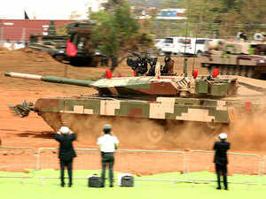 Main Battle Tank Arjun Mk II demo at the Inaugural Ceremony of the 9th Edition of Defexpo-2016 at Goa on Monday, March 28, 2016.