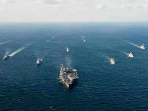 In pic: US and South Korean naval ships traverse the ocean in formation as part of Foal Eagle 2016 in the waters surrounding the Korean peninsula.