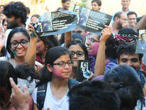 Shweta Raj and Rama Naga had alleged that the university denied their fellowships claiming they are still under suspension over the event.
