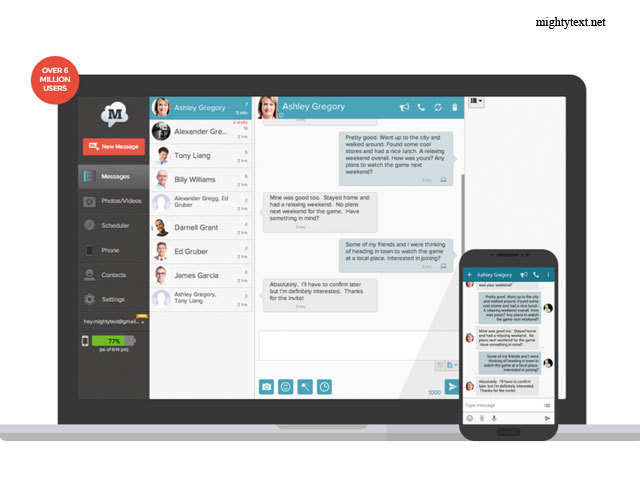 Mightytext For Viewing Text Messages In Pc 10 Android Apps You Shouldn T Miss The Economic Times