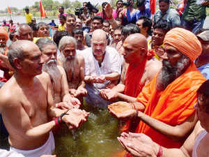 Shah visited the holy city on Wednesday to take a dip in the Kshipra river in the company of saints.