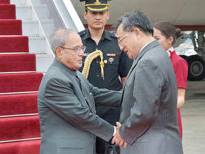 The last president to visit China was Pratibha Patil, but Mukherjee has visited China in many capacities, including as foreign and defence ministers.  In pic: President Pranab Mukherjee and China's Foreign Affairs Vice Minister Liu Zhenmin.