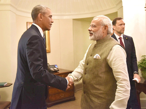"""Culminating a decade of partnership on civil nuclear issues, PM Modi and US President Barack Obama during their White House meeting """"welcomed"""" the start of preparatory work on site in India for six reactors to be built by Westinghouse, officials here said."""
