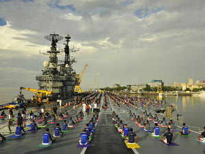 Personnel on Indian ships out in the Pacific Ocean also celebrated the day by performing different aasanas.