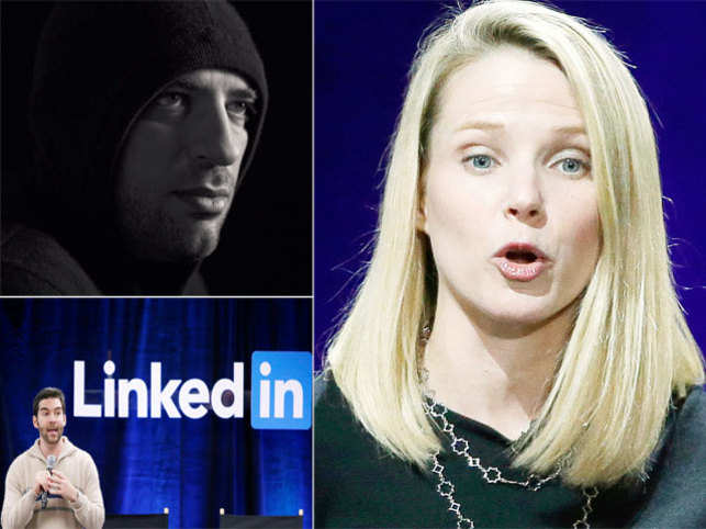 Going from the man in-charge to employee can hit your ego, but it doesn't have to be all gloom and doom. (From top left clockwise: Jan Koum, Marissa Meyer and Jeff Weiner)