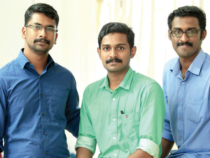 Cofounders of Sastra Robotics (Left to Right): Akhil A, Aronin P and Achu Wilson.