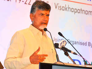 Under the scheme, residential plots of 1,000 to 1,200 sq yards and commercial plots of 300 sq yards are given back to farmers for every acre they give up.  (In pic: Andhra Pradesh's Chief Minister N Chandrababu Naidu)