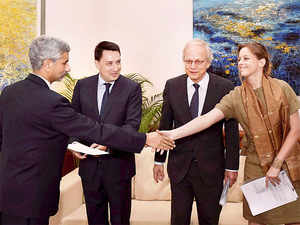 Foreign Secretary S Jaishankar shakes hands with Luxembourg's Charge d Affaires, Laure Huberty after receives Missile Technology Control Regime (MTCR) membership papers from France Ambassador-designate, Alexandre Ziegler, Netherlands Ambassador Alphonsus Stoelinga, in New Delhi.