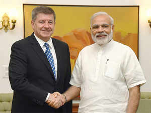 Guy Ryder who is on five day visit here meets PM Narendra Modi.