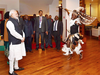 A traditional dancer performs before PM Modi