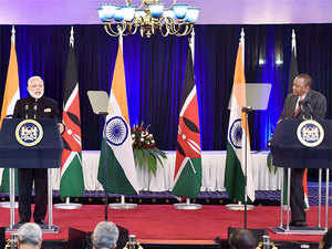 """The multifaceted development partnership is a key pillar of our bilateral relationship,"" Modi said at a joint media interaction with Kenyatta after the talks.  In pic: Prime Minister Narendra Modi and Kenya President, Uhuru Kenyatta."