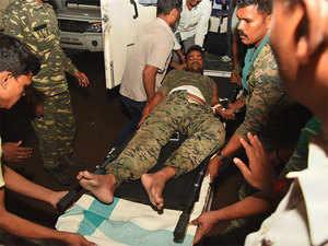 Injured person taken to hospital during maoist attacks in Bihar.