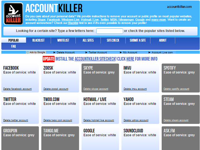 AccountKiller com - These websites are worth their weight in