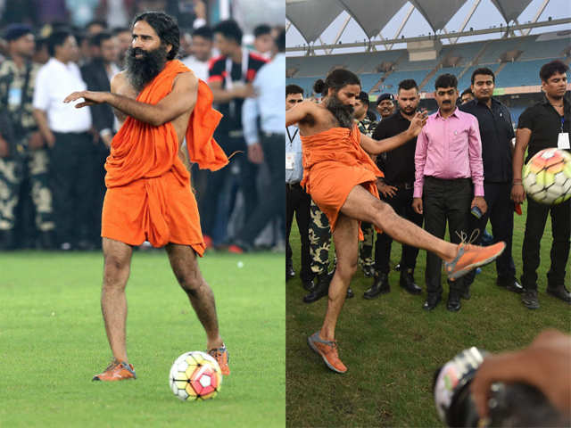 Bend it like Baba! Ramdev shows off his football skills - Bend it like Baba    The Economic Times