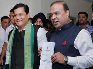 Finance Minister of Assam Himanta Biswa Sarma with Assam Chief Minister Sarbananda Sonowal on their way to present the Assam State Budget during the Budget Session of Assam Legislative Assembly.