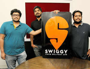 Swiggy co-founder Rahul Jaimini, Nandan Reddy (Right), Sriharsha Majety in their Bangalore office.