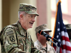US Commander General John Nicholson (in picture) said there is a large requirement that needs to be fulfilled, when it comes to spares for Russian equipment with Afghan forces.