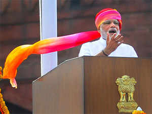 Prime Minister Narendra Modi delivers his speech from the rampart of the Red Fort on 70th Independence Day.