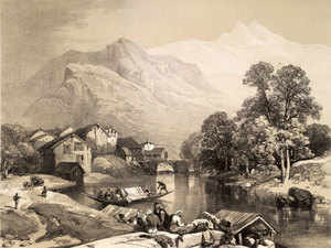Most tourists and big corporates have cancelled their bookings for September and some others have put them on hold.  [In Pic: Bijbehara by James Duffield Harding in 1847]