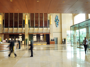 Hilton employs 2,324 people at its 13 managed hotels in the country.  In pic:  Hotel Hilton, New Delhi.