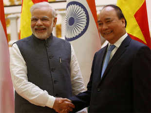 The credit offered by Modi, the first Indian prime minister to visit Vietnam in 15 years, was among a dozen cooperation agreements.
