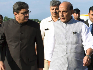 Gautam Bambawale with Home Minister Rajnath Singh in Karachi during the latter's recent Pakistan visit.