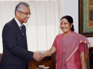 """Sushma appreciated Jugnauth for giving priority to visiting India on his first tour abroad which was in keeping with the """"very special blood relationship"""" between India and Mauritius, official sources said."""