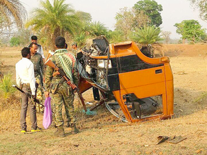 A scene from a blast site at Dantewada.