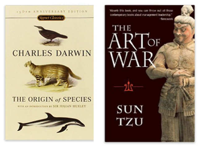 'The Origin of Species' has been written by Charles Darwin and 'The Art of War' by Sun Tzu.