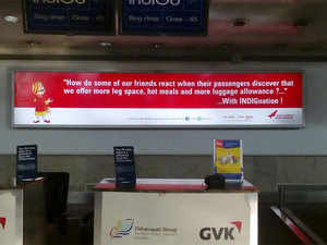 A spokesperson at Mumbai airport said the allocation of advertising space is outsourced to an agency and issues should be sorted out between the airlines and the agency.