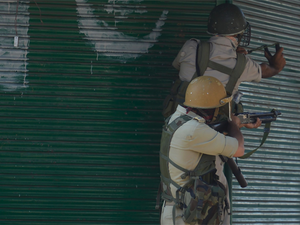 Militants hurled a grenade at a CRPF party in Wanpoh area of the district, a police official said.